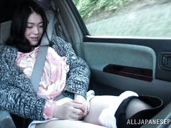 lovely japanese babe masturbates in the car