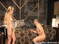 asian guy is brought to his knees by mean blonde slut