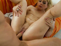 Blonde gets mouth stuffed by hot guy