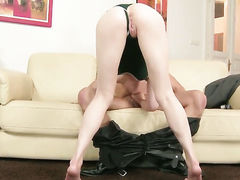 Blonde Lily LaBeau shows her oral talents