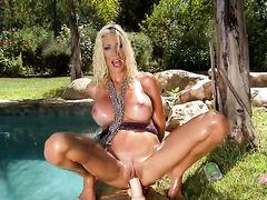 Blonde Puma Swede displays her neat honeypot in solo scene