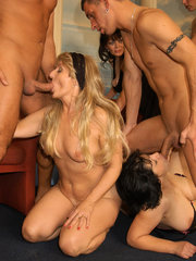 Horny granny Beth Morgan and her friends go for kinky gangbang party and got extremely scewed live