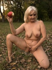 Grey haired granny naked outdoors and seduced a younger guy into banging her aged coot