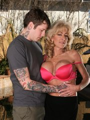 Mature MILF Lexi Carrington gets foreplayed outside the house then taking it in for an awesome fuck