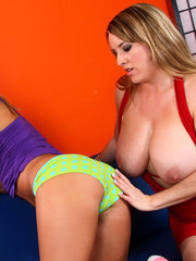 Cougar Maggie Green Exploits Shy Little Blond Ashley!